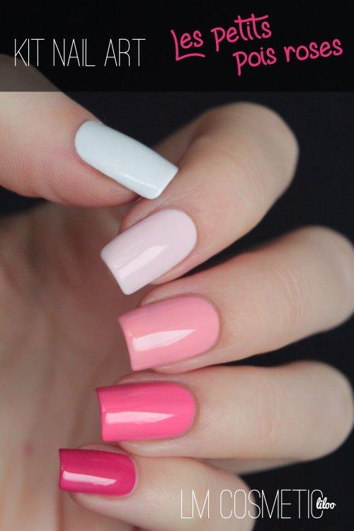 kit nail art les petits pois roses 2