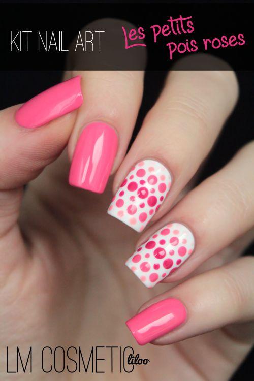 kit nail art les petits pois roses