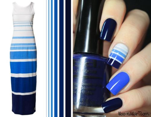 nail art stylight robe gradient bleu lignes