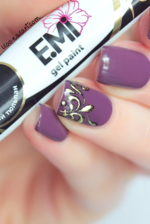 midnight mulberry color club liloo nail art fleur de lys