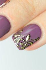 midnight mulberry color club liloo nail art fleur de lys
